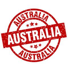 Australia red round grunge stamp vector