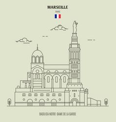 basilica notre-dame de la garde in marseille vector image