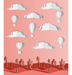 beautiful landscape with balloons air hot craft vector image