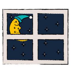 bedroom windows night isolated icon vector image