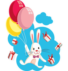 bunny flying with balloons surrounded by gifts vector image