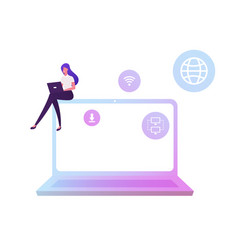 Businesswoman working on laptop using wifi vector