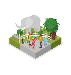 Cage with elephant isometric 3d icon vector