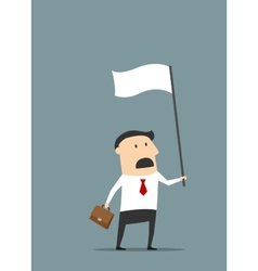 Cartoon flat businessman with white flag vector image