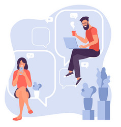 chatting and commenting posts vector image