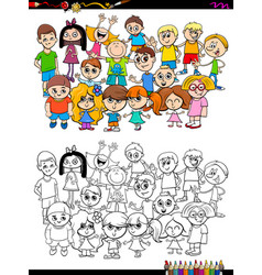 Children characters group coloring book vector