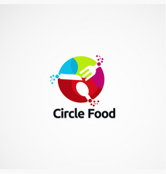Circle food with modern colorful logo designs vector