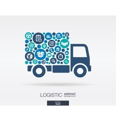 Color circles flat icons in a truck shape vector image