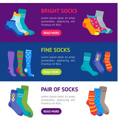 Colorful fun socks banner horizontal set vector