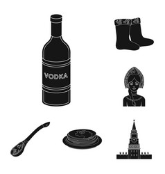 Country russia travel black icons in set vector