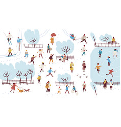 crowd of tiny people dressed in outerwear vector image
