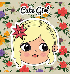 cute girl head character with floral frame vector image
