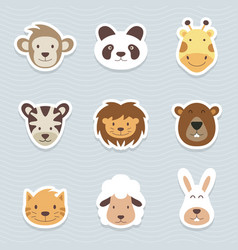 cute set of cartoon animals stickers vector image