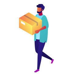 delivery man carrying a cardboard package vector image