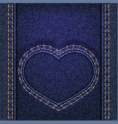 Denim heart sewn on jeans backdrop valentines day vector