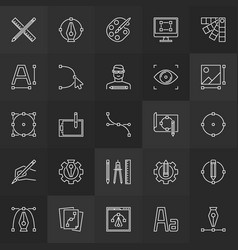design and graphics linear icons collection vector image