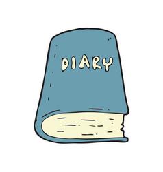 digitally drawn diary book design hand drawing vector image