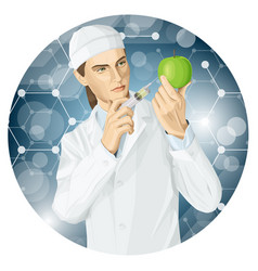Doctor does gmo modification to an apple vector