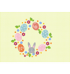 easter wreath with easter eggs on white background vector image