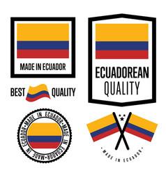 Ecuador quality label set for goods vector