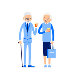 elderly couple drinking coffee old man stands vector image
