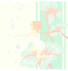 Fantasy fairy tale Thumbelina is sitting pretty on vector image
