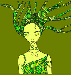 Fantasy woman forest shaman vector