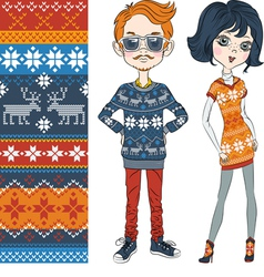 Fashion hipster boy and girl in knitted sweaters vector