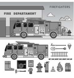 fire-engine standing on street line vector image