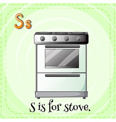 Flashcard of S if for stove vector