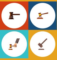 Flat icon lawyer set of hammer government vector