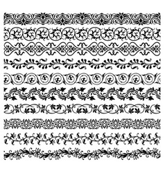 Floral borders frame lines dividers with flowers vector