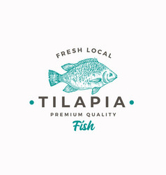 fresh local tilapia abstract sign symbol vector image