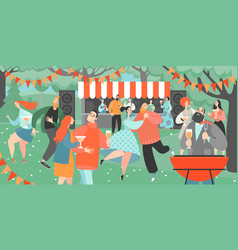 garden party with people dancing and drinking wine vector image