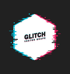 geometric hexagon banner with glitch effect vector image