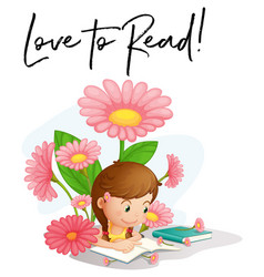 girl reading with phrase love to read vector image