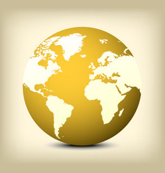 Gold globe icon on yellow background vector