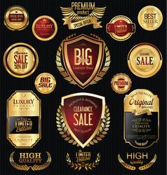 Golden sale badges and labels retro vintage vector