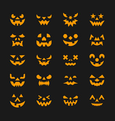 Halloween face set flat design symbol collection vector