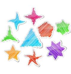 Hand drawn stars set vector image