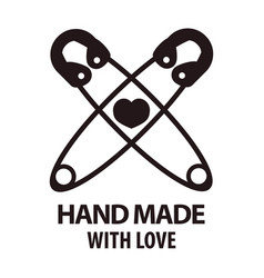 handmade with love logotype design of two crossed vector image