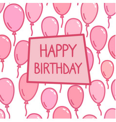 Happy birthday sign on pink balloon background vector