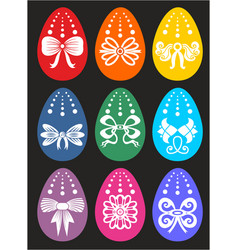 happy easter greeting card with many eggs vector image