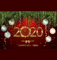 Happy new year 2020 with gold clock vector