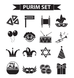 Happy Purim carnival icons set black silhouette vector image