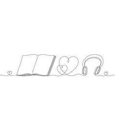 Headphones and an open book with a heart a vector
