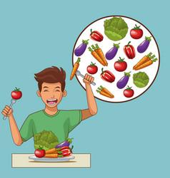 healthy food cartoons vector image