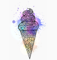 ice cream cone with boho vector image