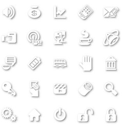 icon set white minimalist vector image