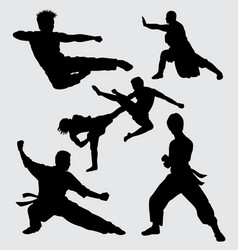 kung fu fight and martial art silhouette vector image